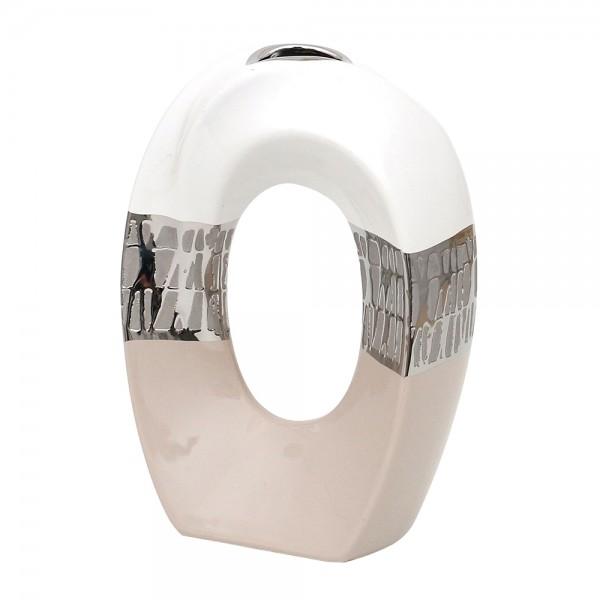 Keramik Vase Cappuccino oval mit Loch silber/weiß 15,5 x 8 x 23 cm
