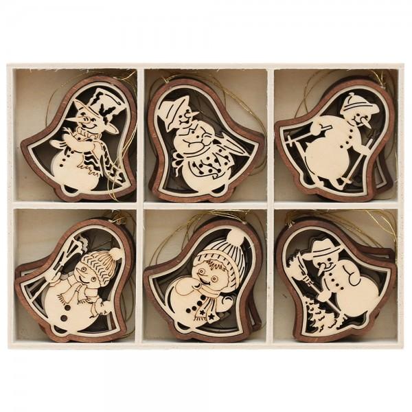 24er Set Holz Anhänger Glocke 2-farbig, 6 Schneemann-Motive, natur/braun (Laser) 8 x 8 cm