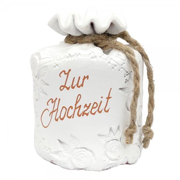 Keramik Sparsack Zur Hochzeit, weiß 8,5 x 8,5 x 14,5 cm