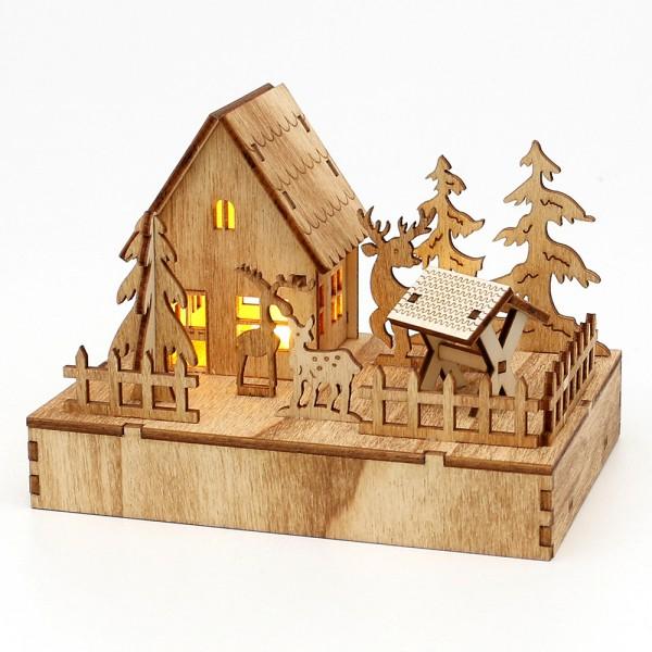 Holz Waldhütte mit Futterkrippe und Tieren 9 x 9,5 x 13 cm Batteriebetrieb AAA, LED