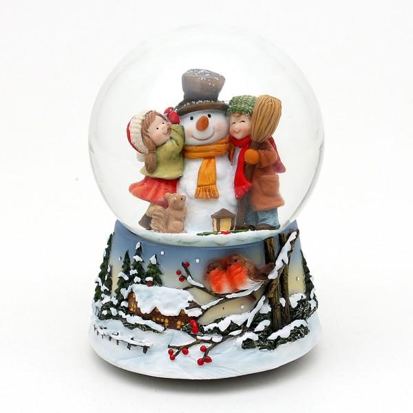 Polyresin Schneekugel Schneemann mit Kindern und Vögel in Winterlandschaft auf Sockel 10 x 10,5 x 14,5 cm Ø 10 cm Spielwerk Leise rieselt der Schnee