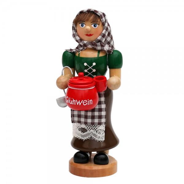 Holz Räucherfrau Glühweinfrau mit dampfendem Glühweintopf, Tasse & Schöpfkelle 7 x 8 x 18 cm