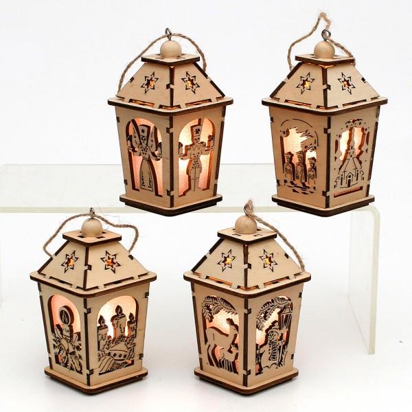 Holz Mini-Laterne mit Anhänger (Laserholz) 4-fach sort. 6 x 6 x 11 cm LED im Set