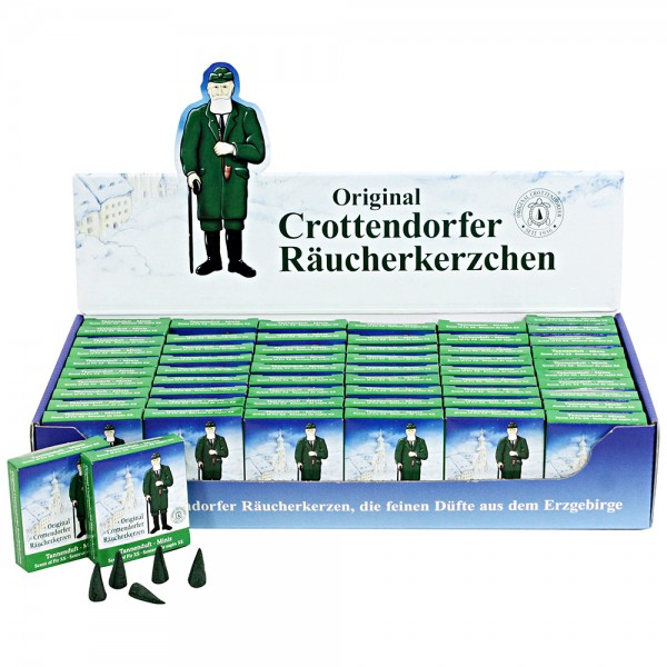 Crottendorfer-Mini-Räucherkerzen Tanne VE Achtung! Neu jetzt im Display zu 60 Stück = VE 1 29 x 15,5 x 5,5 cm