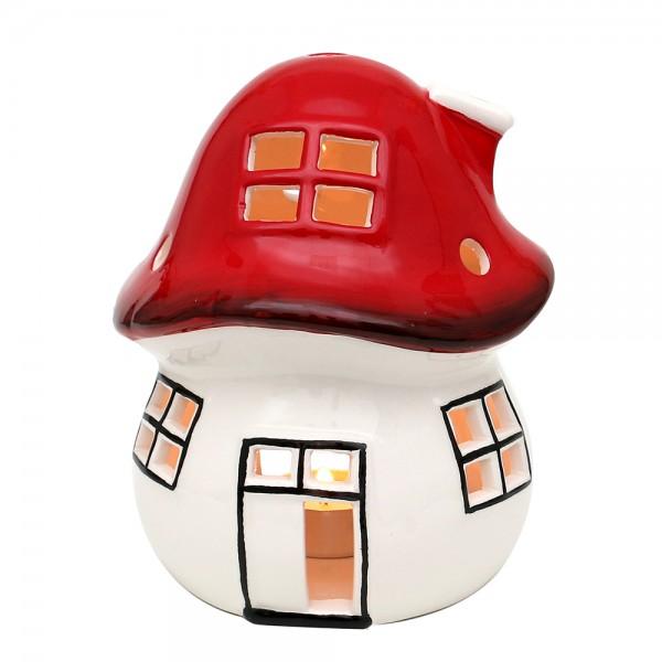 Dolomite Windlichthaus Fliegenpilz weiß/rot glasiert 13,5 x 13,5 x 16,3 cm