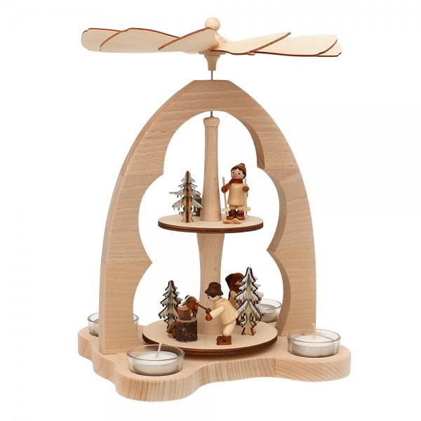 Holz Teelicht-Tischpyramide Waldarbeiter für 4 Teelichte (Buchenholz) 23 x 20 x 33 cm