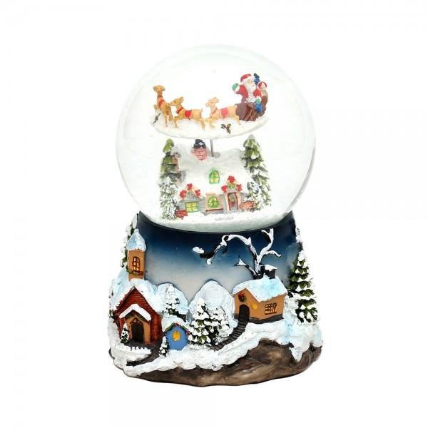 Polyresin Schneekugel groß mit bewegtem Rentierschlitten 13,5 x 13,5 x 19,5 cm Ø 10 cm Batteriebetrieb AA, Bewegung, Glitterwirbel, Sound