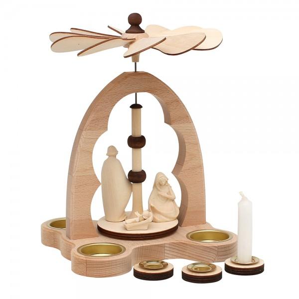 Holz Teelicht-Tischpyramide Heilige Familie Figuren aus Südtirol für 4 Teelichte inkl. 4 Pyramidenkerzen-Adapter (Buchenholz) 16 x 18 x 24 cm