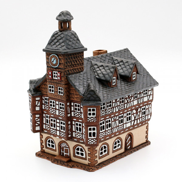 Keramik Licht-Duftölhaus (in Schornstein) Heppenheim Rathaus 17,5 x 14 x 21 cm