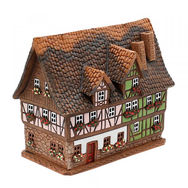 Keramik Licht-Duftölhaus (in Schornstein) Fachwerk grün & lachsfarben 16 x 10 x 14 cm