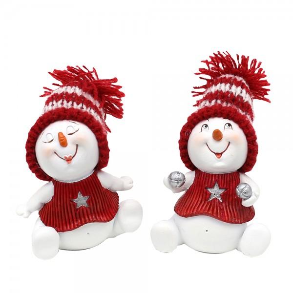 Polyresin Schneemann sitzend mit Weihnachtsdeko, weiß/rot 2-fach sort. 5 x 4,5 x 6 cm im Set