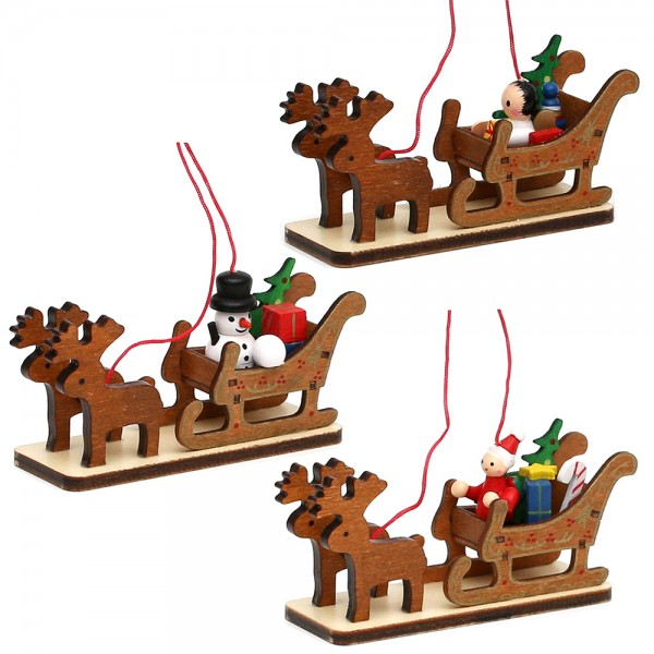 Holz Anhänger Weihnachtsschlitten mit Weihnachtsmann, Schneemann & Engel 3-fach sort. 11 x 3,5 x 5,5 cm im Set
