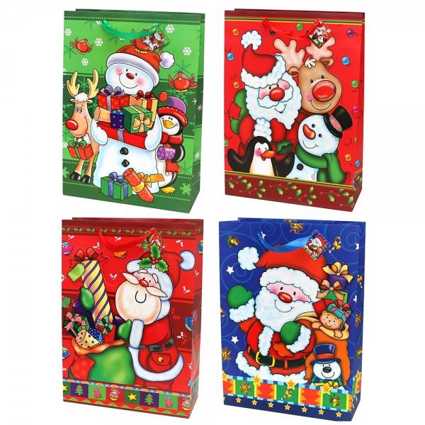 Papier Tragetasche Weihnachtsmann Motive mit Glitter 4-fach sort. 30 x 12 x 42 cm 3D, XL im Set