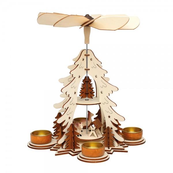 Holz Teelichtpyramide mit Rehen/Futterkrippe (Laserholz), natur/braun 21,5 x 21,5 x 30 cm