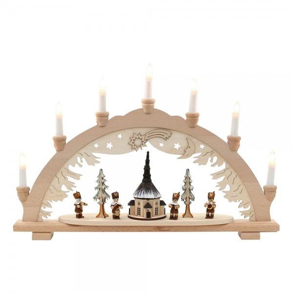 Holz Schwibbogen Seiffener Kirche mit Bergleuten (Premiumholz) 57 x 9 x 38 cm 230 V Kabel, 7 flammig, SPK