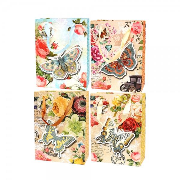 Papier Tragetasche Butterflymit Glitter, bunt 4-fach sort. 18 x 8 x 24 cm 3D im Set