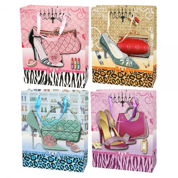 Papier Tragetasche Damen Accessoires II mit Glitter 4-fach sort. 26 x 10 x 32 cm 3D im Set