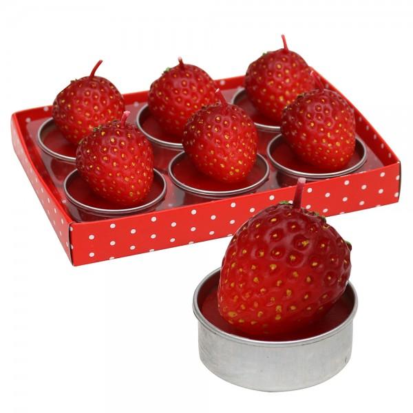 6er Set Teelichte Erdbeere 4 x 4 x 4 cm