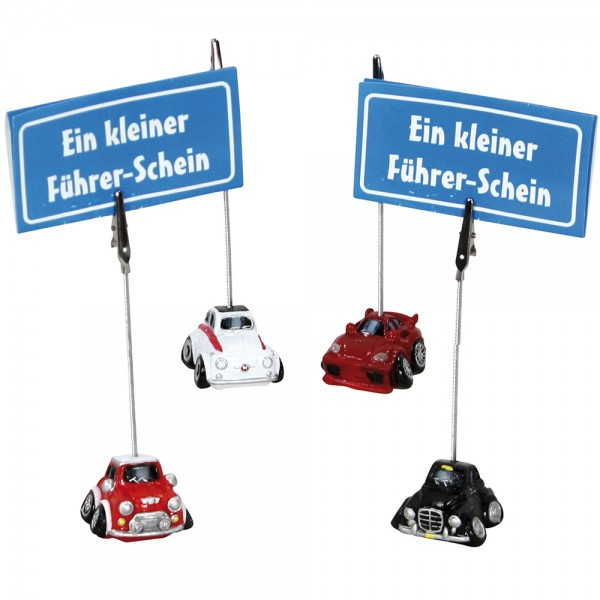 Polyresin Cars mit Metallclip 4-fach sort. 4 x 3,6 x 12 cm im Set