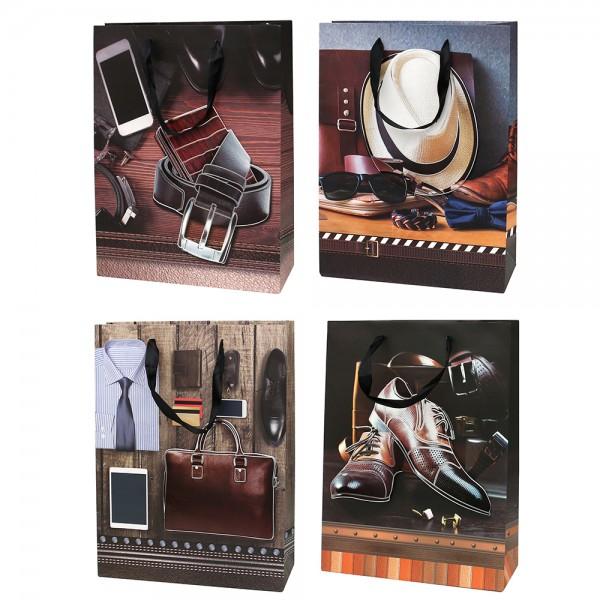 Papier Tragetasche Herren Accessoires 4-fach sort. 30 x 12 x 40 cm 3D im Set