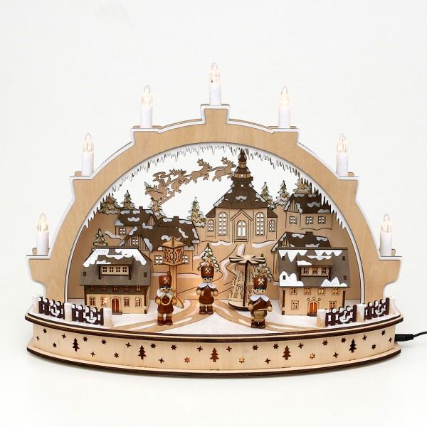 Holz Schwibbogen Seiffener Weihnacht mit drehender Pyramide & Bergparade (Laserholz) 45 x 15 x 34 cm Batteriebetrieb AA, inkl. Adapter 4,5 V, LED, Bewegung