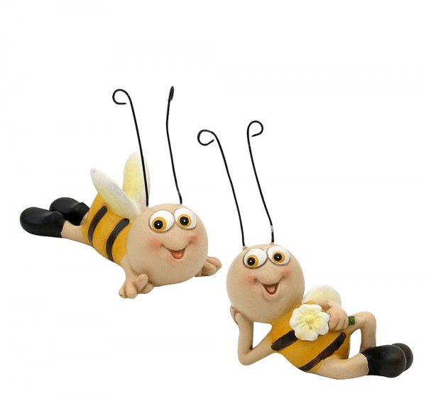 Polyresin Dekofigur Biene liegend 2-fach sort. 9 x 4,5 x 4 cm im Set