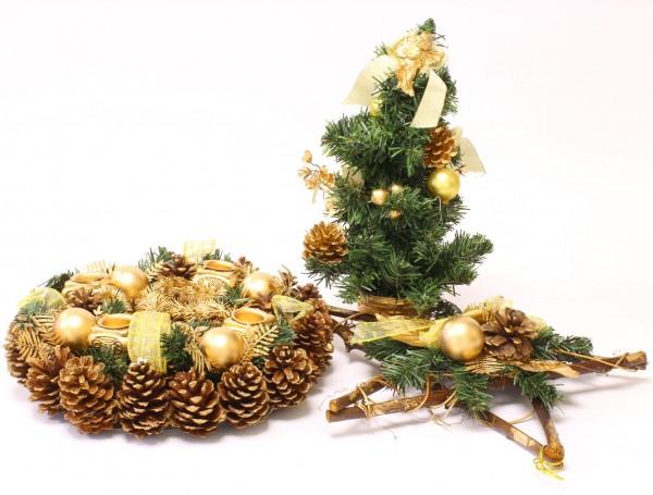Große Weihnachtsdekoration mit Adventskranz, Weihnachtsbäumchen und Weihnachtsstern
