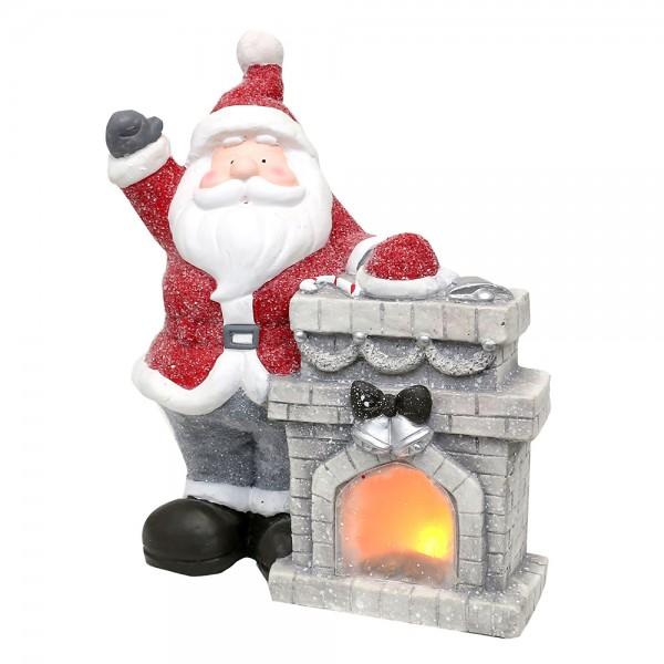 Keramik Santa am Weihnachtskamin 31,5 x 18 x 37 cm Batteriebetrieb AAA, LED, MGO