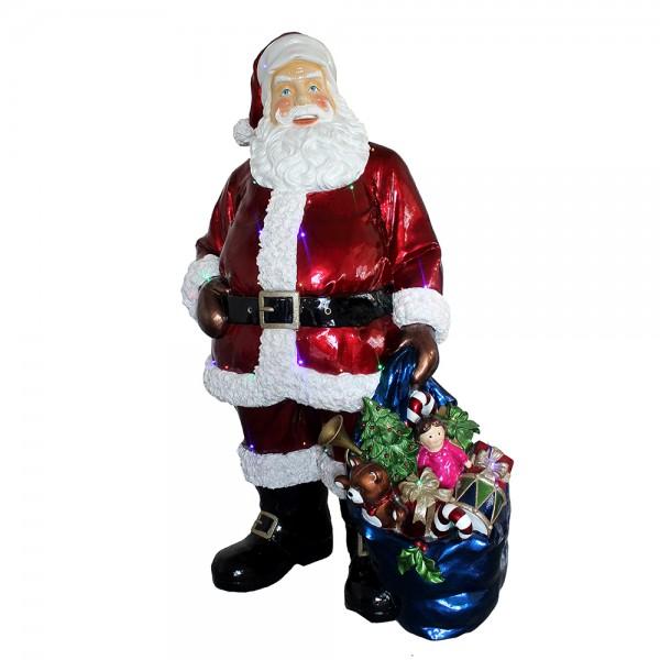 Polyresin Deko-Weihnachtsmann XXL mit Geschenkesack 117 x 84 x 190 cm inkl. Adapter 4,5 V, LED, XXL