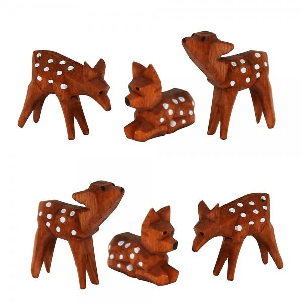 6er Set Holz Rehe, braun gepunktet 3-fach sort. 3 x 1 x 4 cm im Set