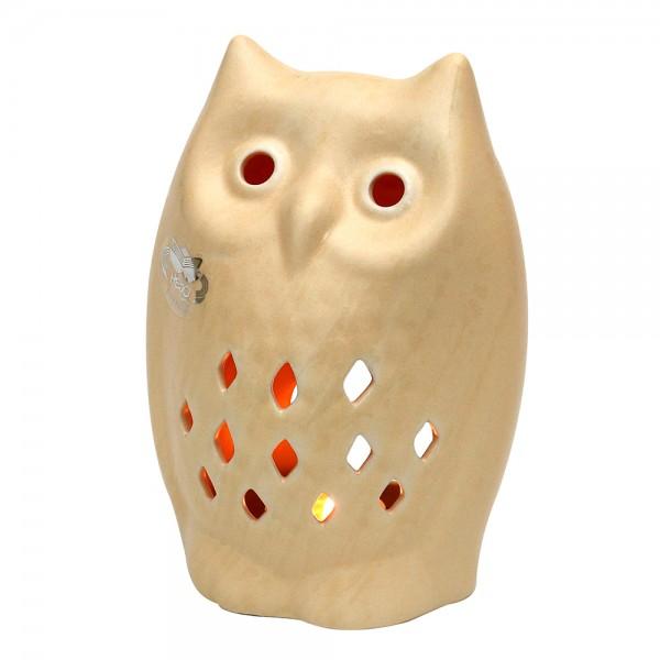 Keramik Teelichthalter Eule, Champagner 13 x 7 x 18,5 cm