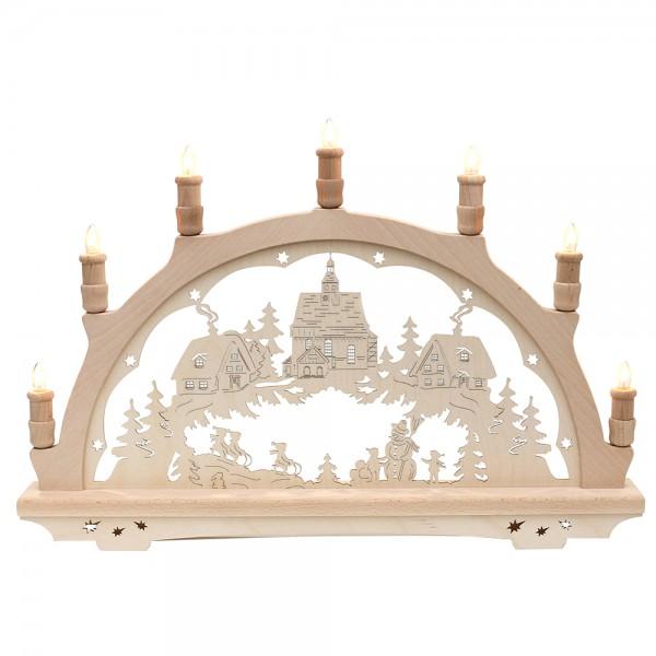 Holz Schwibbogen Winterdorf mit Kirche Made in Germany (mit Laserfuß) 57 x 6 x 38 cm 230 V Kabel, 7 flammig, SPK