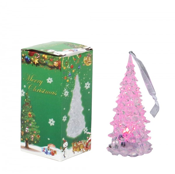 Acryl LED-Baum mini mit Anhänger 4,5 x 4,5 x 7 cm LED, Farbwechsel