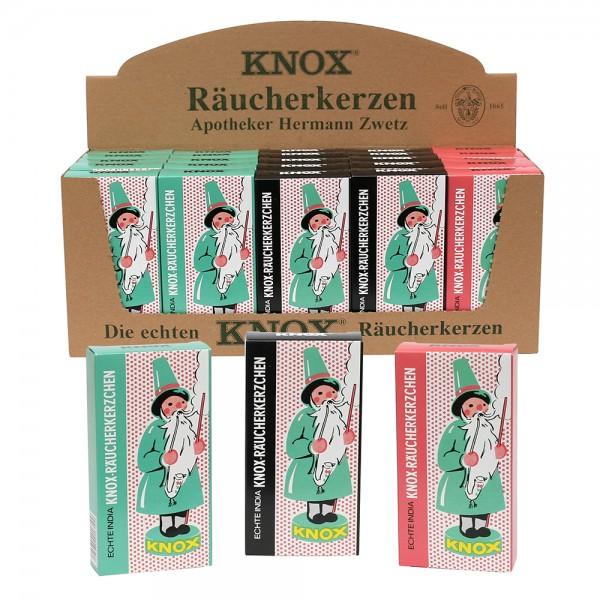 25er Set KNOX-Räucherkerzen Ostalgie Tanne/Weihrauch/Sandel 3-fach sort. 33 x 11,5 x 13 cm im Set