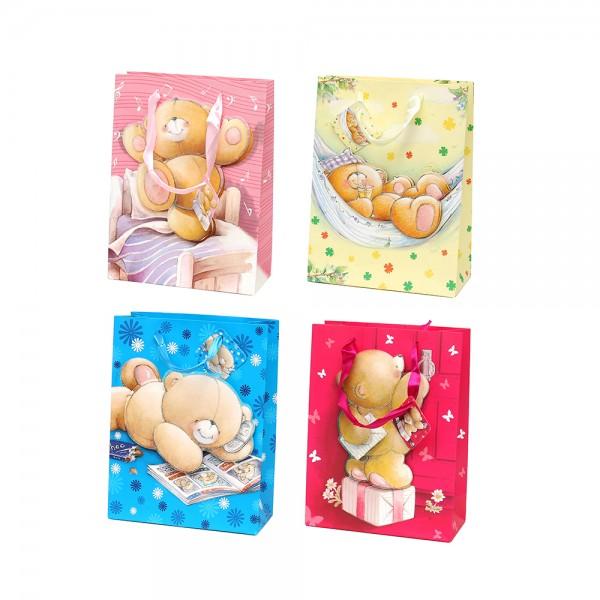 Papier Tragetasche Bären Motive mit Glitter 4-fach sort. 18 x 8 x 24 cm im Set