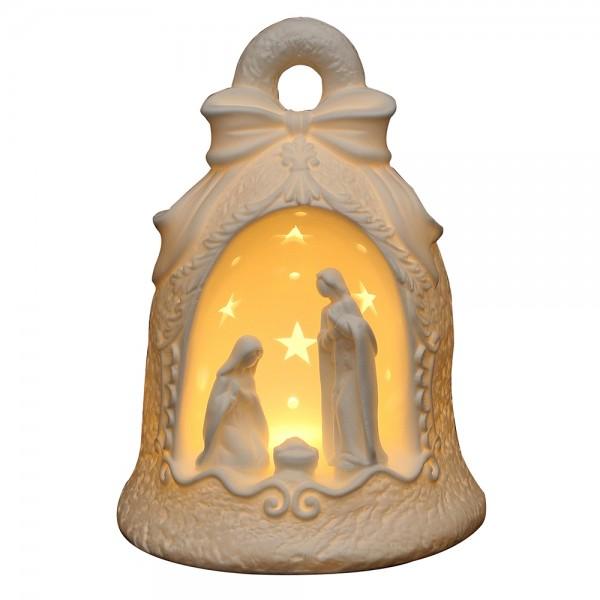 Porzellan Heilige Familie in Glocke weiß 16 x 16 x 21,5 cm LED