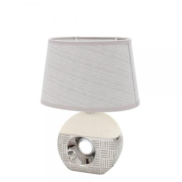 Keramik Lampe Bali rund mit Loch 23 x 16,5 x 31 cm 230 V Kabel, E14