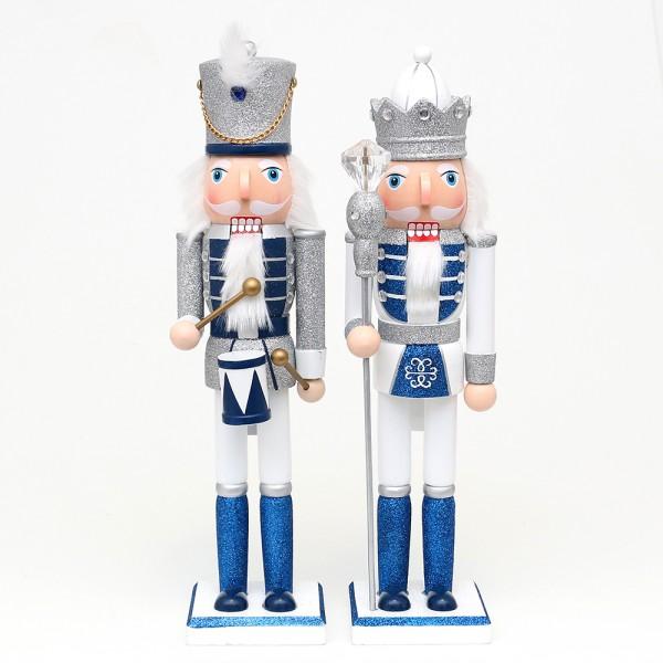 Holz Nussknacker König/Trommler mit Glitter, silber/weiß/blau 2-fach sort. 10 x 9 x 38 cm im Set
