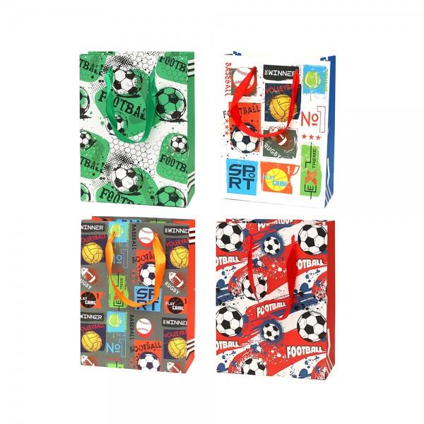 Papier Tragetasche Fußball 4-fach sort. 18 x 8 x 24 cm im Set