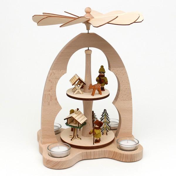 Holz Tischpyramide Moosma & Moosfra für 4 Teelichte (Buchenholz) 23 x 20 x 33 cm