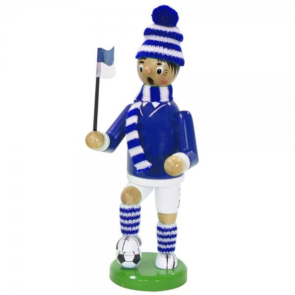 Holz Räuchermann Fußballer, blau/weiß 9 x 7 x 24 cm