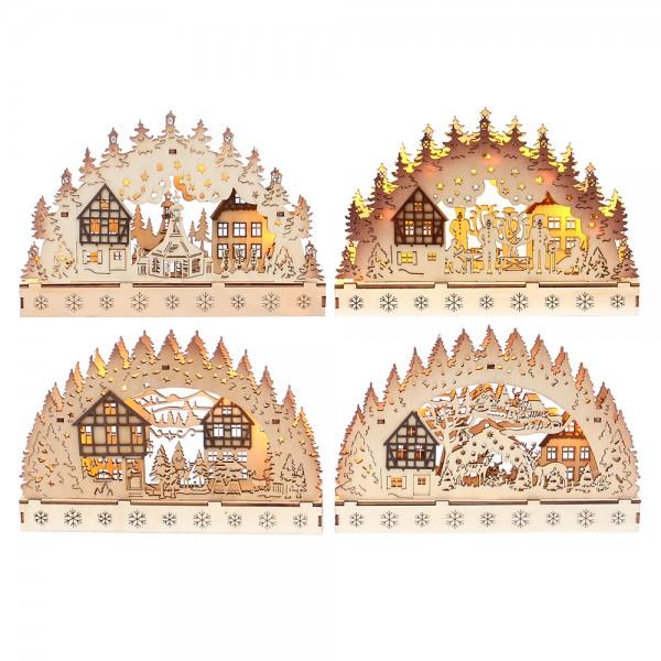 Holz Schwibbogen mit braunen Dekoelementen (Laserholz) 4-fach sort. 23 x 3,5 x 15 cm Batteriebetrieb AA, LED im Set
