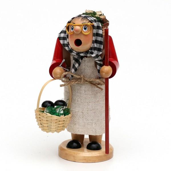 Holz Räucherfrau Waldfraa mit Juteschürze, braun 8 x 9 x 16 cm