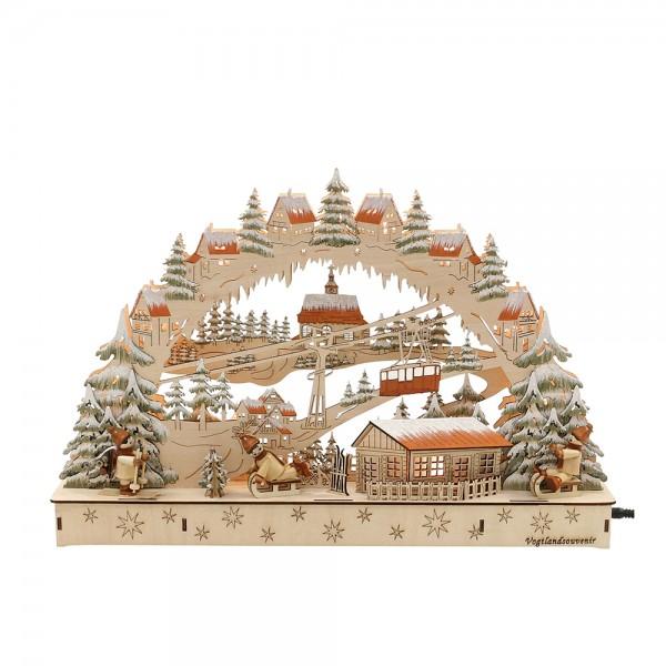 Holz Schwibbogen Skifahrer mit Seilbahn Motiv (Laserholz) 44,5 x 7 x 29,5 cm Batteriebetrieb AA, inkl. Adapter 4,5 V, LED