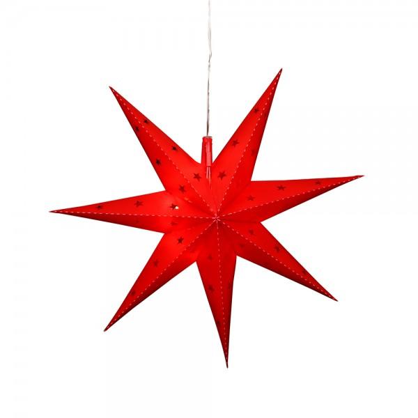 Kunststoff Falkensteiner Adventsstern Fensterstern 7 Spitzen zum Aufklappen, rot 45 x 13 x 45 cm inkl. Adapter 4,5 V, LED, wetterfest/für außen geeignet