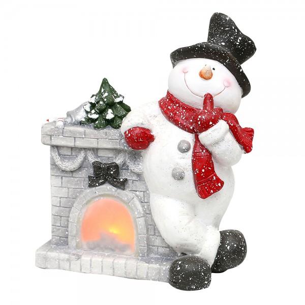 Keramik Schneemann am Weihnachtskamin 30 x 15 x 36 cm Batteriebetrieb AAA, LED, MGO