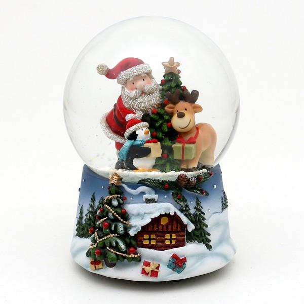 Polyresin Schneekugel Santa und Weihnachtliche Winterlandschaft auf blauem Sockel 10 x 10,5 x 14,5 cm Ø 10 cm Spielwerk White christmas