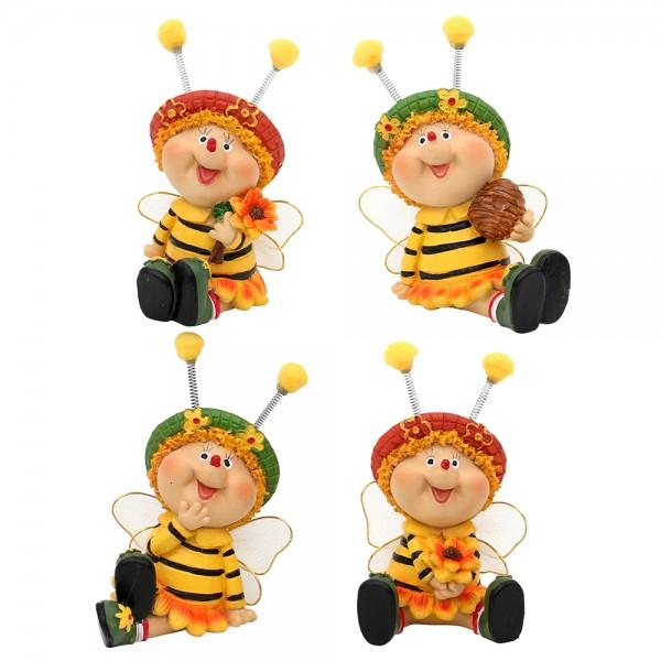 Polyresin Bienen Sarah & Marie sitzend 4-fach sort. 5,5 x 5,5 x 8,5 cm im Set
