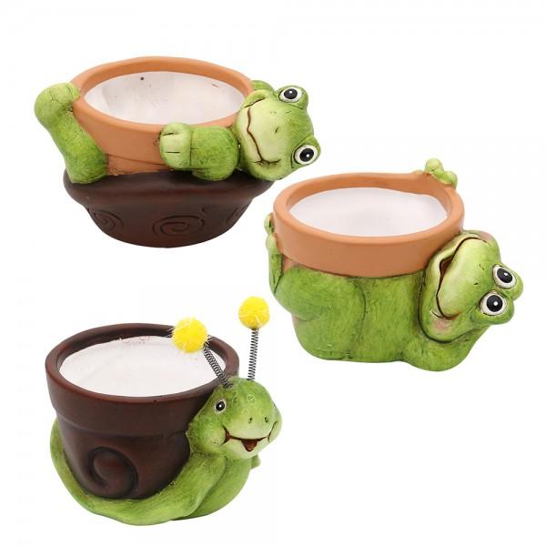 Keramik Dekofiguren Schnecke, Schildkröte, Frosch mit Pot 3-fach sort. 11,1 x 8,1 x 8,2 cm Ø 6 cm im Set