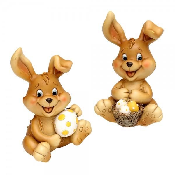 Polyresin Hase Happy mit Eiern sitzend, braun 2-fach sort. 14 x 11 x 16,5 cm im Set